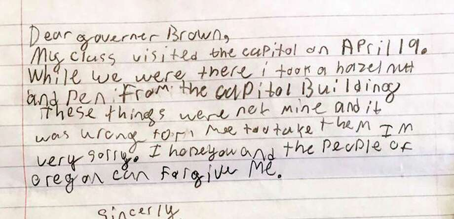 During a field trip to Oregon's  Capitol Building, a fourth-grade boy stole a hazelnut and pen. The student wrote an apology letter to the governor explaining his transgression. Photo: Saerom England, HOGP / Office Of Oregon Governor Kate Brown