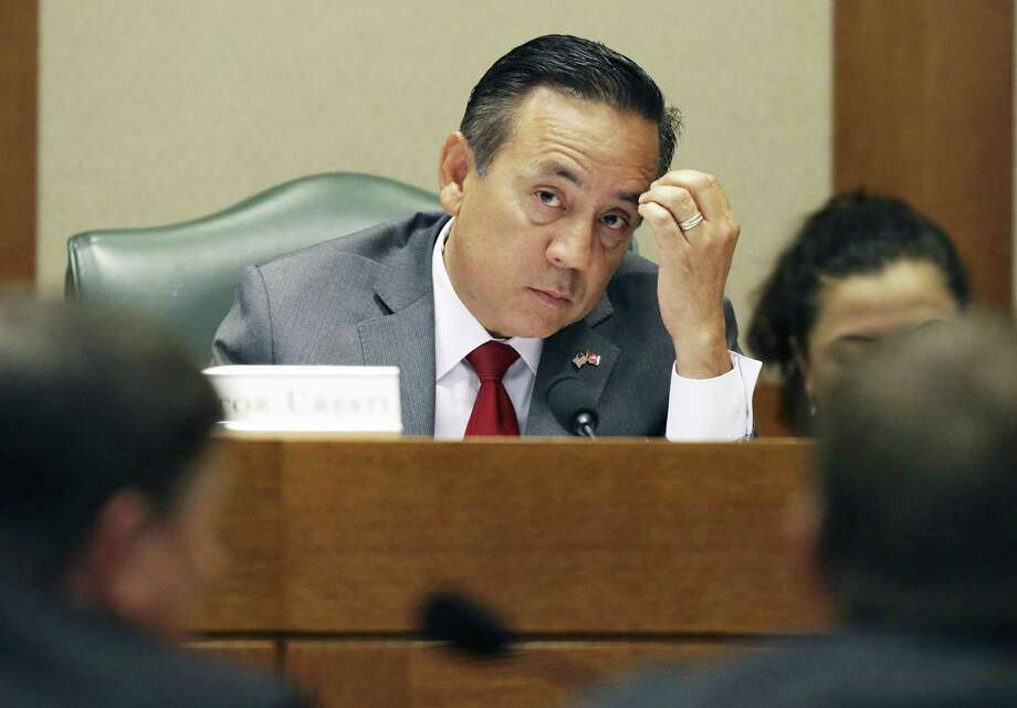 State Sen. Carlos Uresti, is fighting to keep out certain information from his criminal fraud trial, including a Securities and Exchange Commission investigation into the collapse of a San Antonio frac-sand company. Ureseti had multiple roles with the company. Uresti is pictured at the Texas Capitol in May. Photo: Tom Reel /San Antonio Express-News / 2017 SAN ANTONIO EXPRESS-NEWS