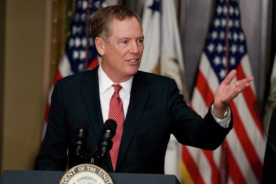 FILE- In this Monday, May 15, 2017, photo, U.S. Trade Representative Robert Lighthizer speaks in the Eisenhower Executive Office Building on the White House complex in Washington during his swearing-in ceremony. Lighthizer sent a letter to congressional leaders on Thursday, May 18, starting 90 days of consultations with lawmakers over how to revamp the North American Free Trade Agreement with Canada and Mexico. (AP Photo/Evan Vucci, File) Photo: Evan Vucci, STF / Copyright 2017 The Associated Press. All rights reserved.