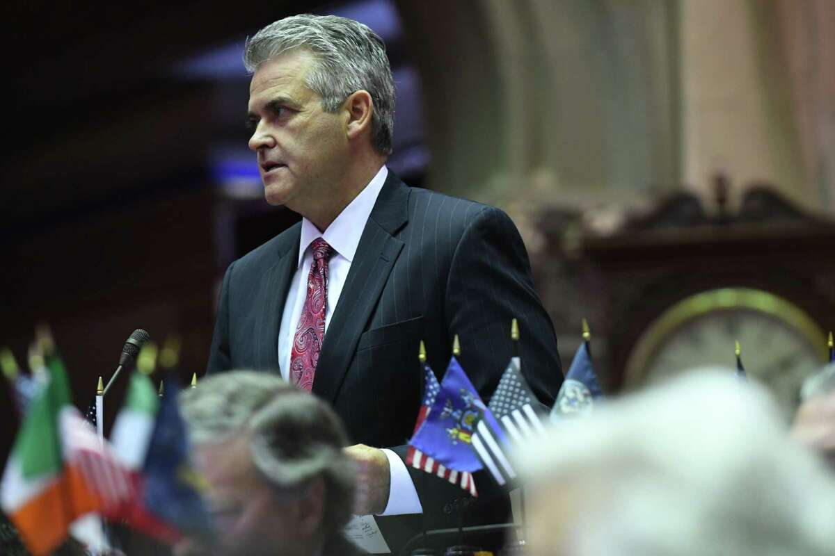 Assemblyman Steve McLaughlin (R,C,I-Troy) questions Assembly Ways and Means Committee Chair, Assemblyman Herman Farrell Jr., on the state budget during session on Friday, April 7, 2017, at the Capitol in Albany, N.Y. McLaughlin has formally filed papers with the state Board of Elections to run for Rensselaer County executive. (Will Waldron/Times Union)