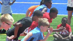 Boys take off from the start as they compete in the 100 meter dash at the annual Albany Police Athletic League (PAL), Elementary School Track Meet at Albany High School on Thursday, May 18, 2017, in Albany, N.Y.  The event brought  together more than 250 fifth and sixth grade students from AlbanyOs public, private, parochial and charter schools to compete in various track and field events.  (Paul Buckowski / Times Union)