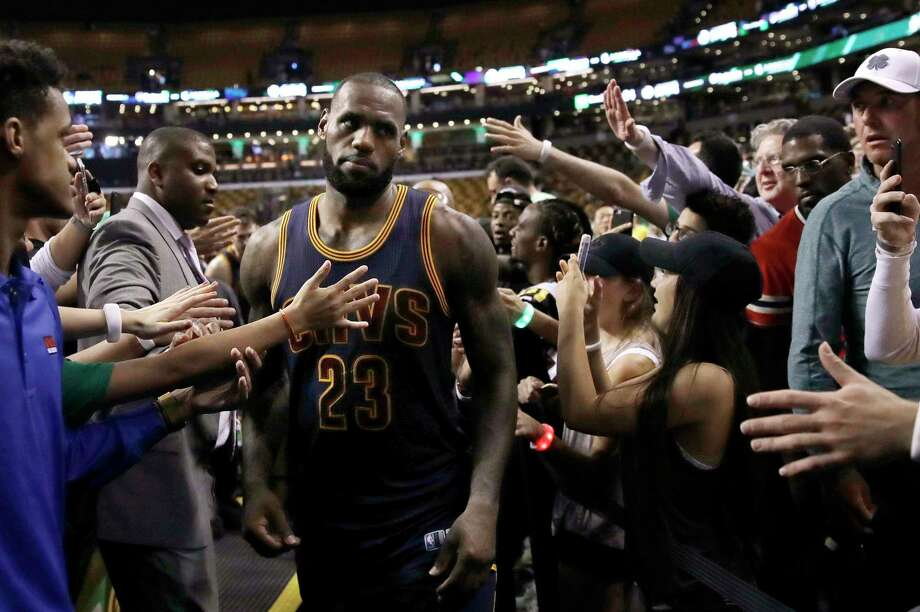 Cleveland Cavaliers forward LeBron James leaves the court after Game 1 of the team's NBA basketball Eastern Conference finals against the Boston Celtics, Wednesday, May 17, 2017, in Boston. The Cavaliers won 117-104. (AP Photo/Charles Krupa) ORG XMIT: BX137 Photo: Charles Krupa / Copyright 2017 The Associated Press. All rights reserved.