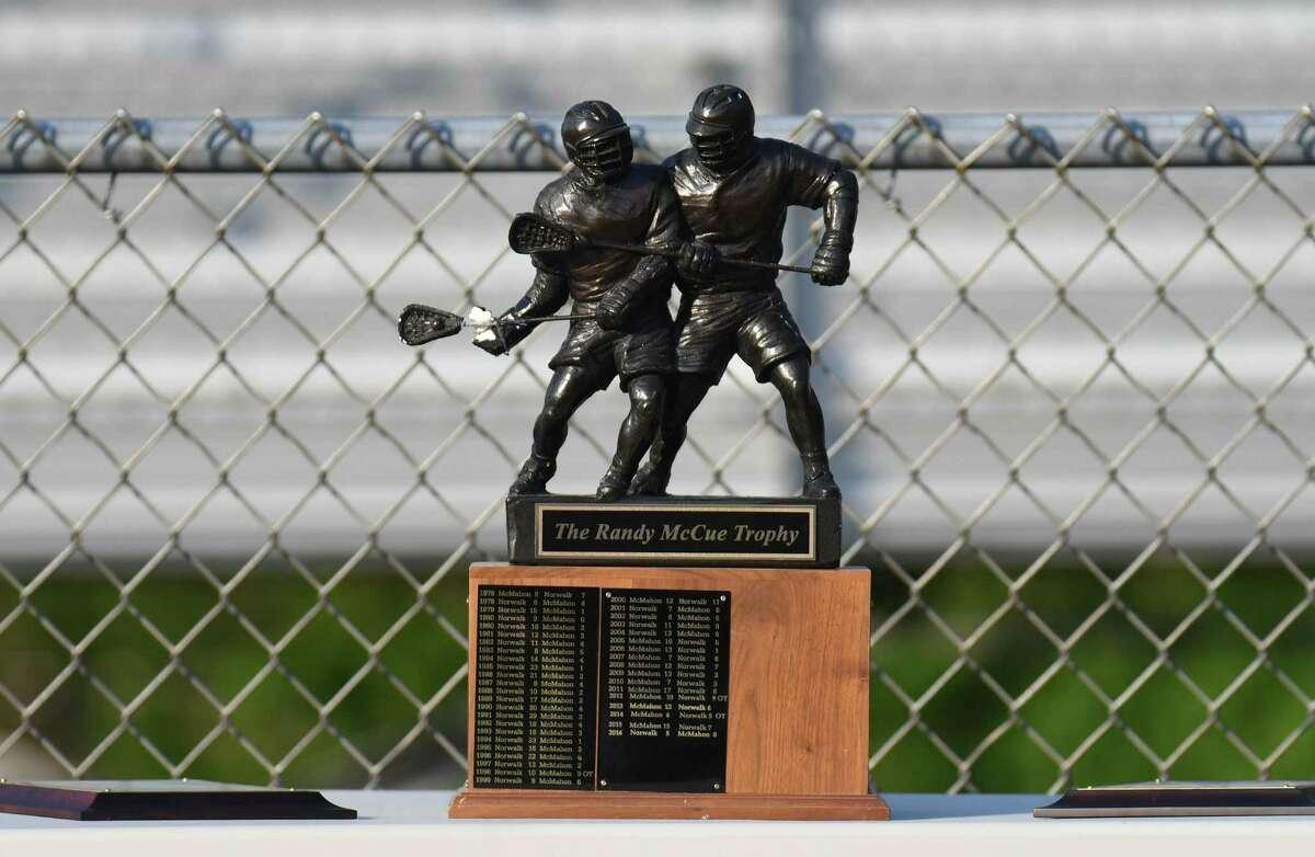 FCIAC lacrosse action Between the Norwalk Bears and the Brien McMahon Senators at Norwalk High School on May 18, 2017 in Norwalk, Connecticut.
