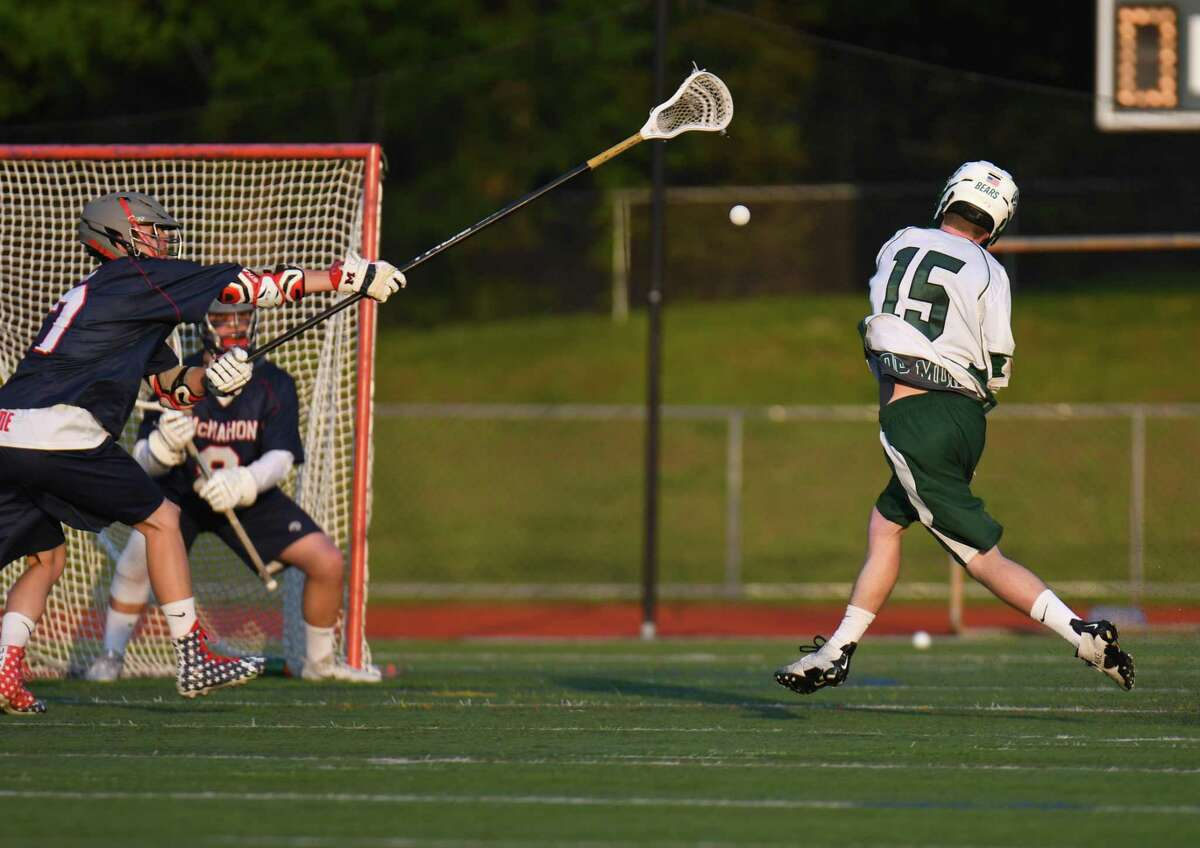 Norwalk's Duncan Campbell shoots and scores.