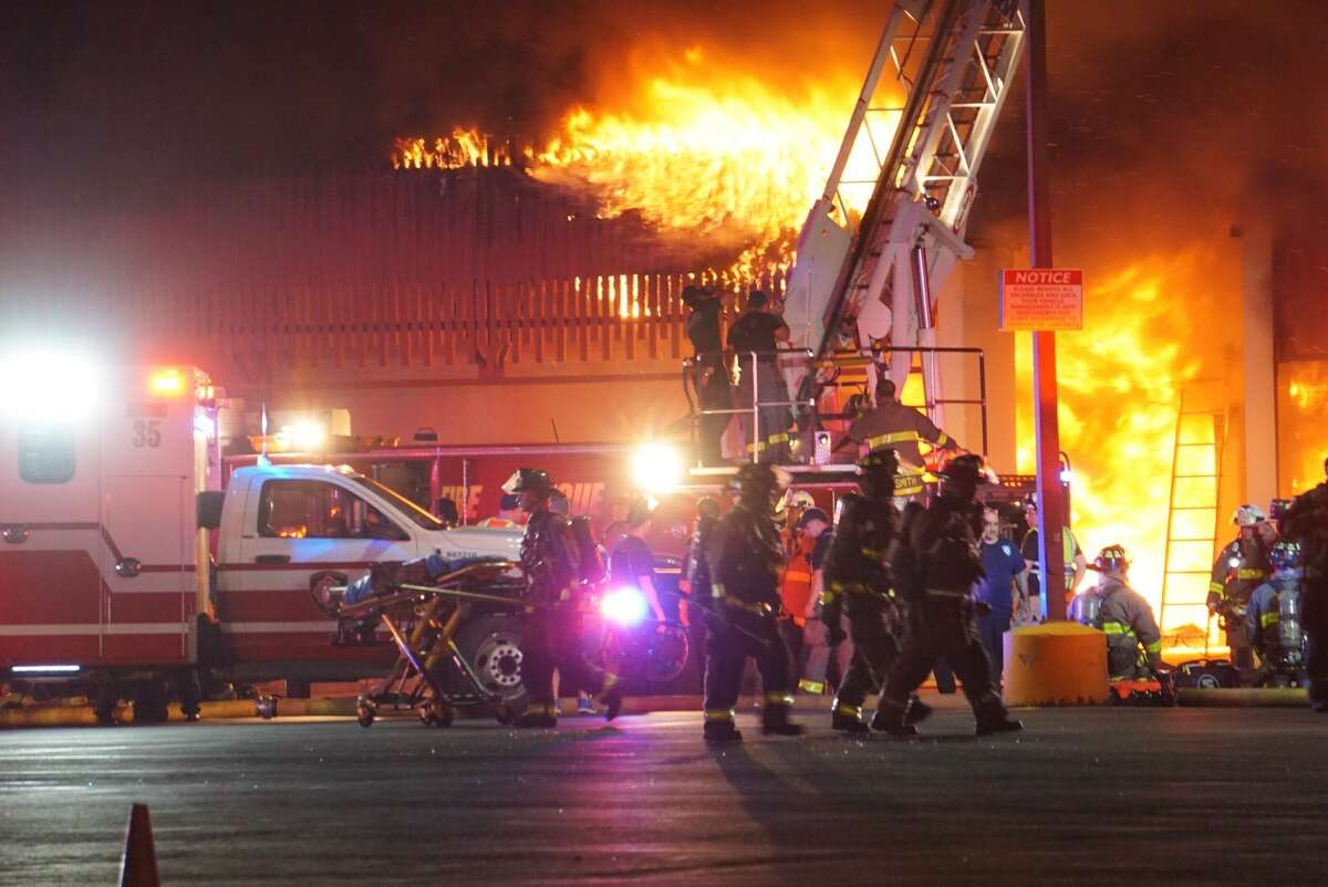 At least one firefighter was injured when battling a blaze that erupted at about 9 p.m. near Ingram and Wurzbach roads.