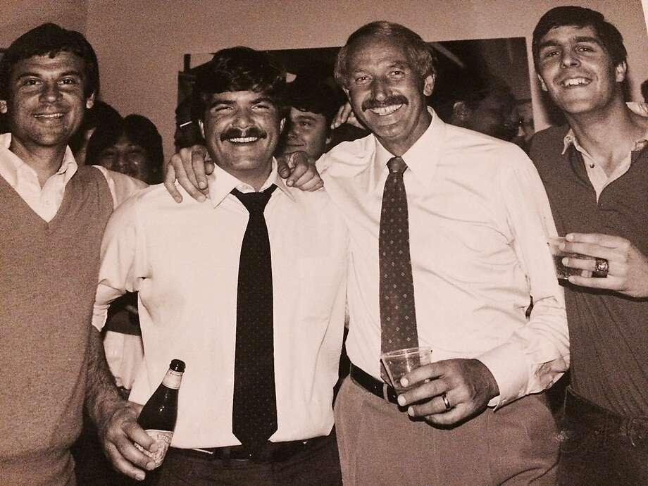 (left to right) Sports producer Art Dlugach, sports anchor Joe Fonzi, sports director Wayne Walker and sports producer Steve Kroner celebrate Walker's 10th anniversary at KPIX in 1984. Photo: Courtesy Steve Kroner 1984