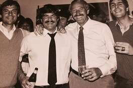 (left to right) Sports producer Art Dlugach, sports anchor Joe Fonzi, sports director Wayne Walker and sports producer Steve Kroner celebrate Walker's 10th anniversary at KPIX in 1984.