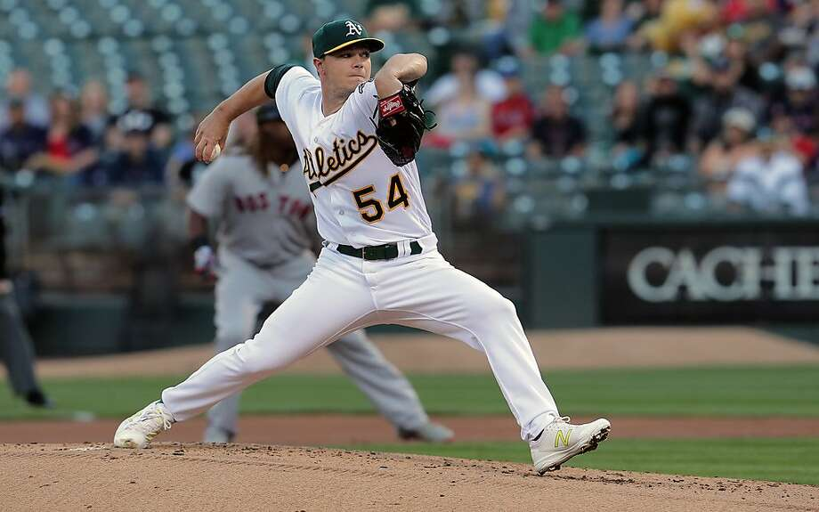 A's starting pitcher Sonny Gray, 54 throws in the first inning, as the Oakland Athletics take on the Boston Red Sox in MLB action on Oakland, Ca. on Thursday May 18, 2017. Photo: Michael Macor, The Chronicle