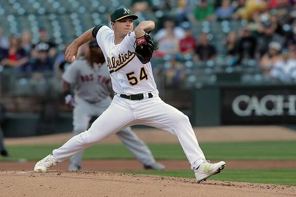 A's starting pitcher Sonny Gray, 54 throws in the first inning, as the Oakland Athletics take on the Boston Red Sox in MLB action on Oakland, Ca. on Thursday May 18, 2017.