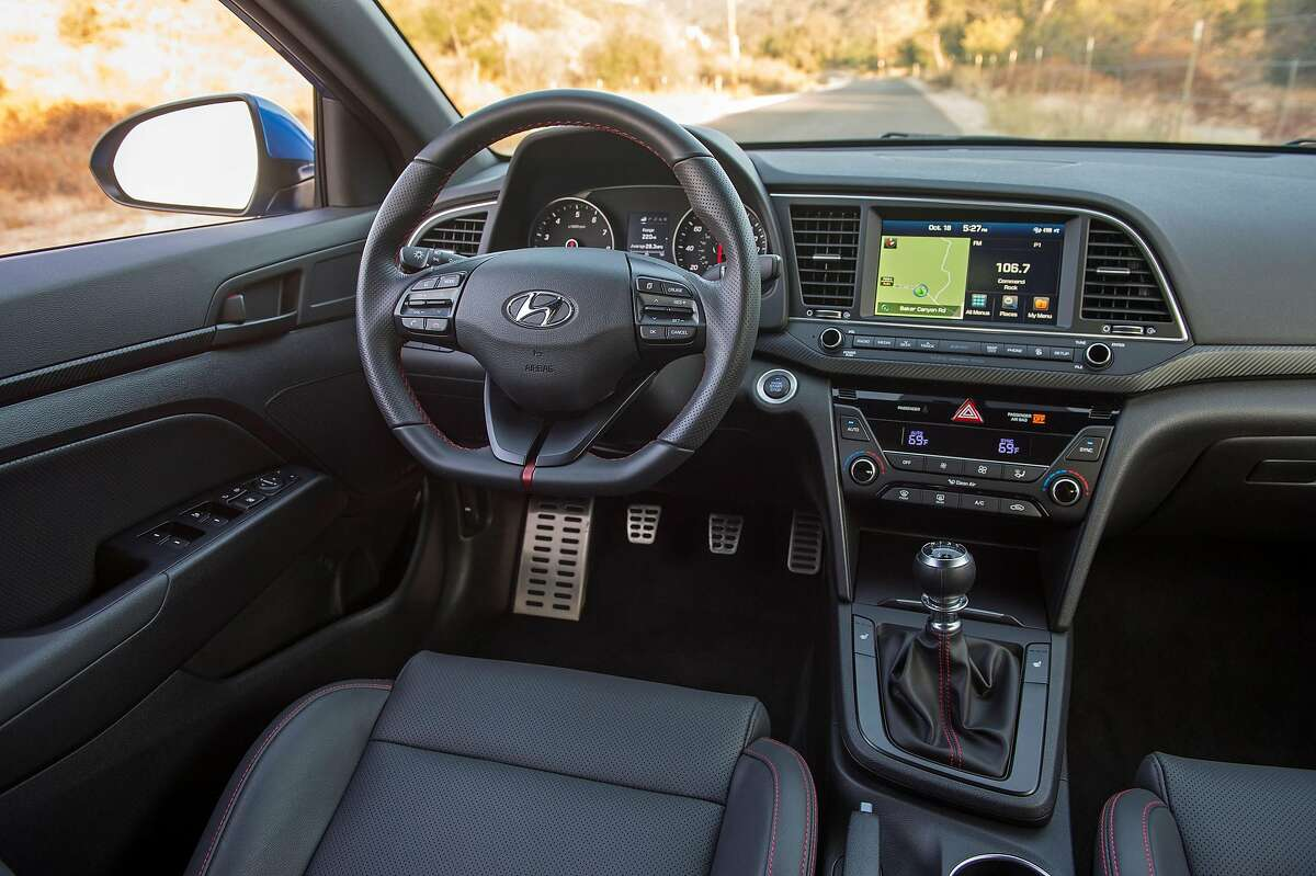The 2017 Hyundai Elantra Sport flat-bottomed sport steering wheel feels good in the hands, though the steering doesn't pick up everything from the road. (Hyundai)