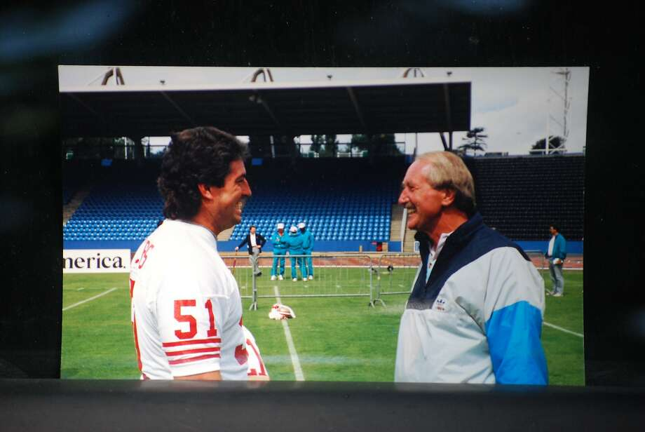 Wayne Walker talks with former 49ers offensive lineman Randy Cross in London in the week leading to an exhibition game against the Miami Dolphins Photo: Courtesy: Art Dlugach 1988