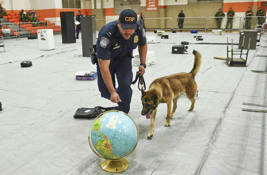 Customs and Border Protection of Laredo Officer Cesar Mendez and his K9 Broky inspect random objects for concealed narcotics on Tuesday as part of the third annual K9 Competition hosted by United ISD Police at the United High School ninth-grade campus. Photo: Danny Zaragoza /Laredo Morning Times / LAREDO MORNING TIMES