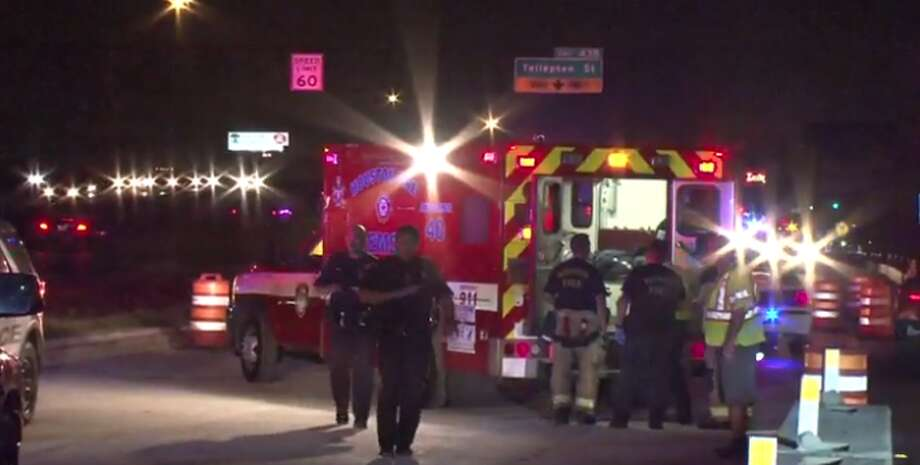 A police officer working off-duty on the Gulf Freeway was injured after an elderly man rear-ended his car around 4:30 a.m. Friday. (Metro Video) Photo: Metro Video