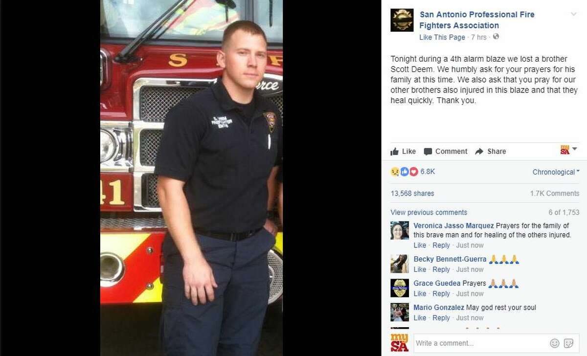 Click ahead to view things to know about Scott Deem and the massive blaze that killed the San Antonio firefighter.1. Scott Deem, a 6-year veteran with the San Antonio Fire Department, was killed fighting a 4-alarm blaze that engulfed a Northwest Side shopping center on Thursday, May 18, 2017.The 31-year-old firefighter was a husband and father of two with a child on the way, the fire department announced.