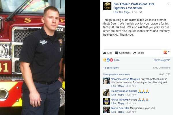 "The San Antonio Professional Fire Fighters Association posted this tribute to Scott Deem, a San Antonio firefighter who was killed while battling a blaze late Thursday, May 18, 2017. ""We humbly ask for your prayers for his family at this time,"" the post read."