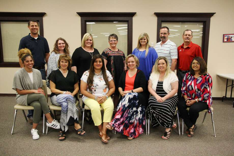 Plainview ISD educators voted by their peers as Educators of the Year for their campus are Jerilyn Curry, Highland (front left); Betsy Lewis, Highland; Misti Juarez, Thunderbird; Jolee Dietrich, Estacado; Brenda Moreno, Edgemere; Valerie Livesay, Hillcrest; Clint Patterson (back left), College Hill; Staci Barrett, Estacado; Alyse Lackey, La Mesa; Sherry Thompson, La Mesa; Kami Carnell, Plainview High School; Bruce Waldrip, Coronado; and Mike Lewis, Ash High School.