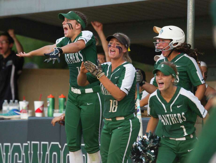 Kingwood Park players celebrate after Jessica Husband's RBI double during the third inning in Game 1 of a Region III-5A semifinal series Thursday, May 18, 2017, in Kingwood. Photo: Jason Fochtman, Houston Chronicle / © 2017 Houston Chronicle