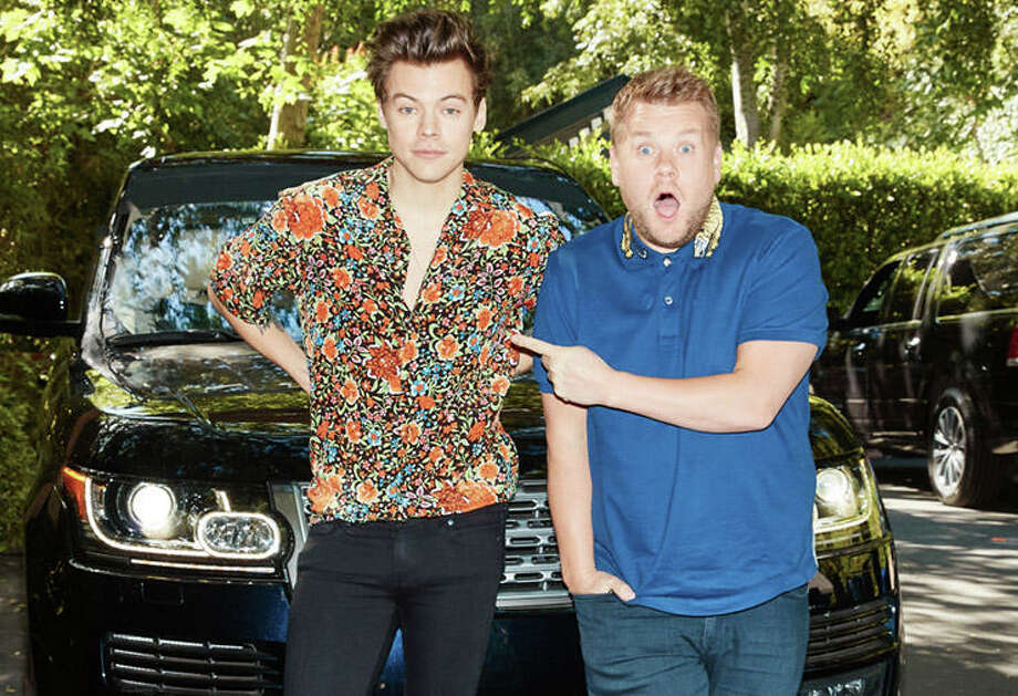 Harry Styles and James Corden, The Late Late Show | Photo Credits: Terence Patrick, CBS / ©2017 CBS Broadcasting, Inc. All Rights Reserved