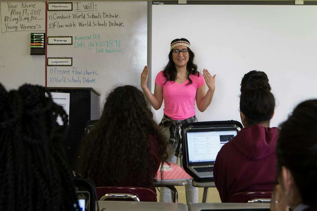 Sofia Alfaro, 18, the valedictorian at the Women's College Preparatory Academy speaks to other students about how she studied for the AP exams, Wednesday, May 17, 2017, in Houston. Alfaro's step-father sold the car when Sofia was five-years-old, paying for safe passage from her native El Salvador to the United States. Once Sofia reunited with her mother, who moved to Houston several years earlier for work after Sofia's father died, she began school.