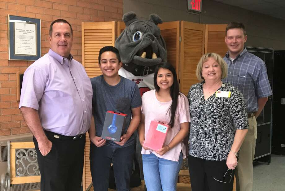 Cesar Rodriguez and Mia Delarosa received perfect attendance awards for the fifth and sixth six-weeks period at Estacado Middle School. Prizes for the contest are provided by the Plainview Rotary Club. Presenting the awards are Principal Ritchie Thornton (left) and Rotarians Caralyn Dillard and Andrew Allison.