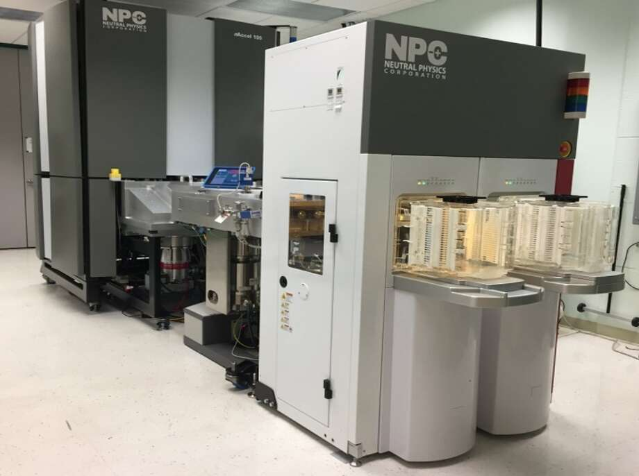 A new atom beam machine being installed at SUNY Poly in Albany for use in computer chip manufacturing. Photo: Neutral Physics Corp.