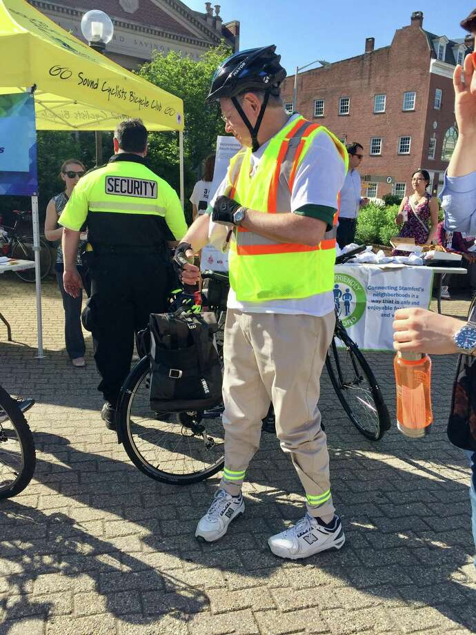 Mayor David Martin rode his Trek bicycle to Veterans Memorial Park on May 19, 2017, for national Bike to Work Day. Photo: Contributed