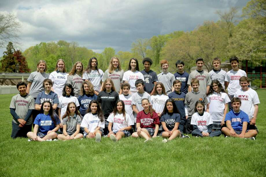 Whitby's eighth grade graduating class od 32 students is the largest in the school's history.Top row (from left): Sophia Viscarello, Nadia Kucher, Elena Mota, Charlotte Winoker, Dasha Timasheva, Sophia Phelan, David Jared Matthews, Jason McGuire, Nicholas Buehler, Ben O'Brien, Bruce Mauger and Liam Suarez Becker. Middle Row (from left): Sebastian Bodian, Evan Mills, Jasmine Shah, Sasha Simon, Sarah Mitchelson, Adem Murad, Allen Dong, Jessica Matloub, Max Meier, Max Shepherd, Eleni Lefakis and Matthew Wallace. Bottom row (from left): Simone Passarelli, Layla Kurbanov, Ashley Gonzalez, Killa Guerra Saavedra, Malia Monge, Jazzy Valenzuela, Anna Ioffe and Alexy Theuerkauf. Photo: Contributed