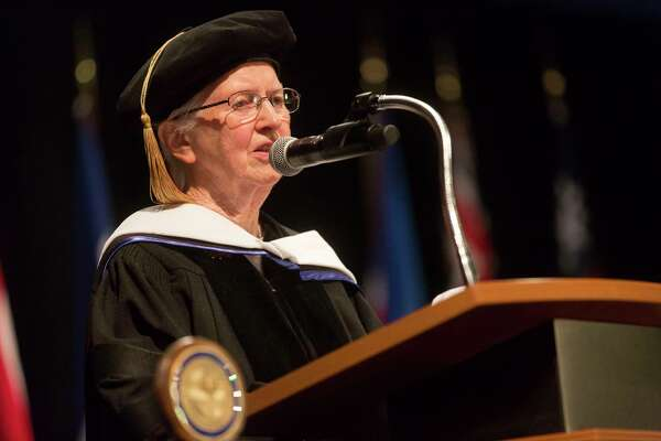 Honorary degree receiptient Sister Anne Marie Graham speaks at the St. Vincent College's Commencement Ceremoy on Friday, May 19, 2017 in Bridgeport, Conn.