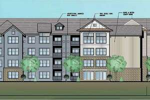 A rendering of landscaping company Grillo Services' proposed 342-unit apartment building, to be built on 10 acres at 553 West Ave. in Milford, Conn.