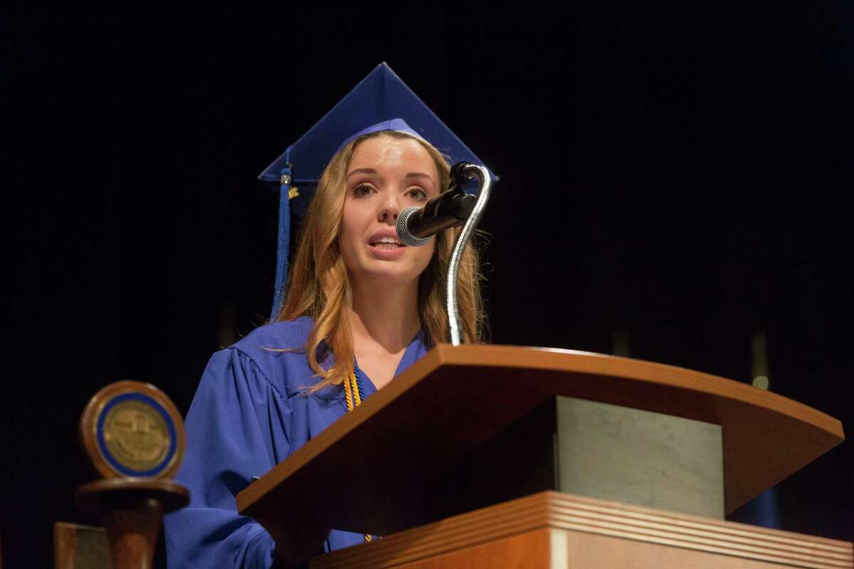 Student speaker Megan Halloran at the St. Vincent College's Commencement Ceremoy on Friday, May 19, 2017 in Bridgeport, Conn.