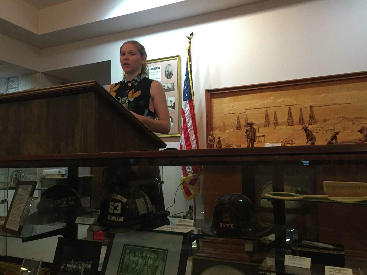 Emily Humble talks about the history of Humble during the second speaker series hosted by the Humble museum on Thursday, May 18.