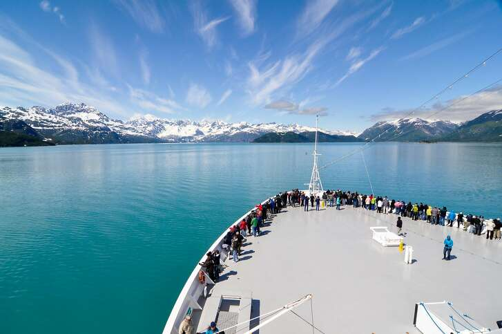 The view forward aboard Holland America Line�s ms Zaandam, on a sunny day cruising through Glacier Bay National Park, Alaska.
