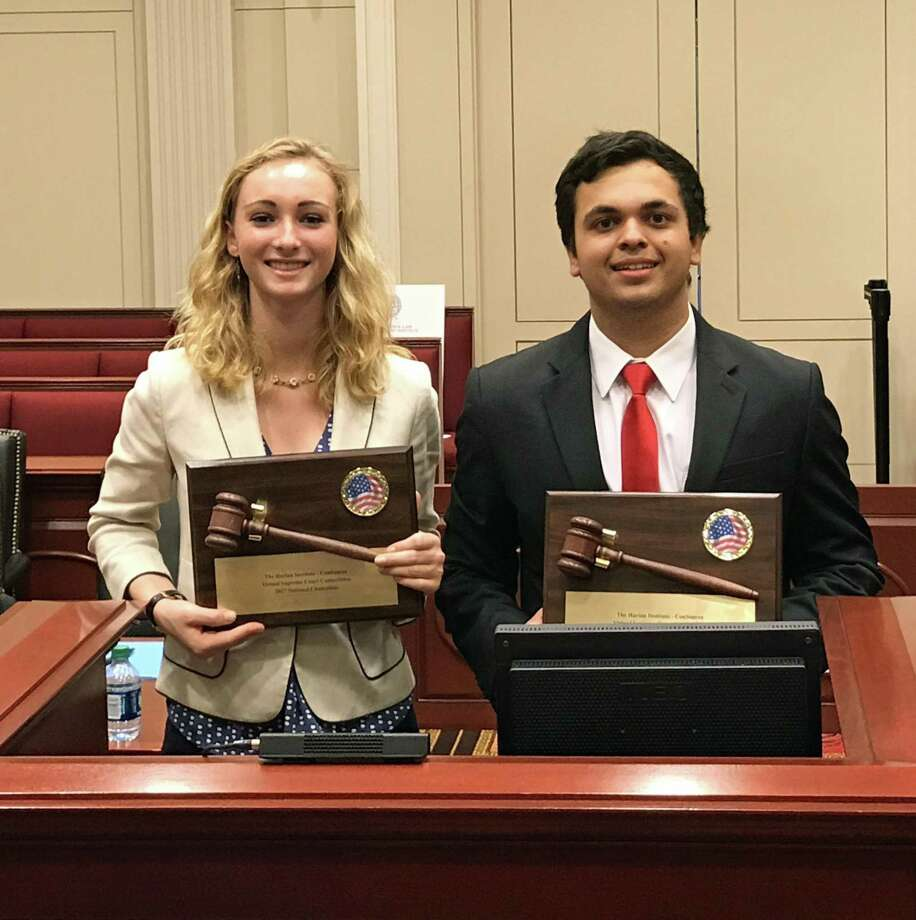 Greenwich High School students Lucy Mini (left) and Arjun Ahuja (right) claimed victory in the fifth annual National Virtual Supreme Court Competition for high school students on May 18. Photo: Contributed