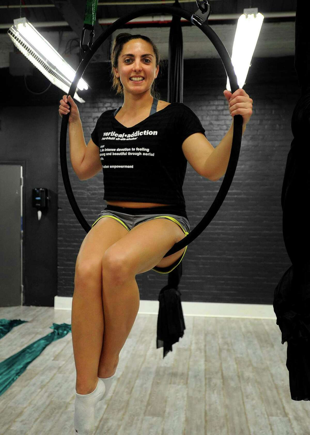 Ashely Popoli, of Stamford, owner the new Vertical Addiction aerial fitness studio at 85 Mill Plain Road in Fairfield, Conn. on Thursday, May 18, 2017.