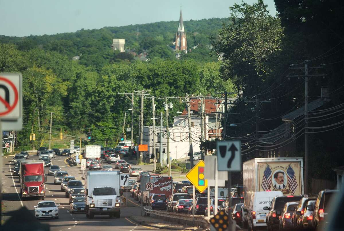 Route 34 is jammed in the northbound, and busy in the southbound, directions in Derby, Conn. on Wednesday, August 26, 2015.