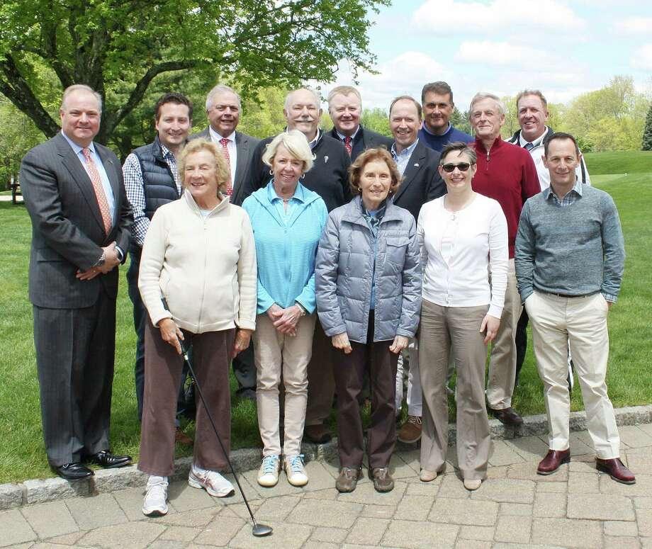 Top sponsors for Waveny LifeCare Networks 15th annual Swinging for Seniors Golf and Tennis Outing gathered to finalize plans for the May 22 event. From left: Peter Olson; Anthony Pacchioni; Barbara Burns: James Darling; Judy Bentley; Bailey Stewart; James Connolly, Country Club of New Canaan; Joan Dionne; Stephen Karl; Dan Philippon, Country Club of New Canaan; Laura Drynan; Jim Bartlett; James Slattery; Andrew Louw, Country Club of New Canaan; and Todd Lampert, board chairman of Waveny LifeCare Network. Photo: Contributed Photo / New Canaan News