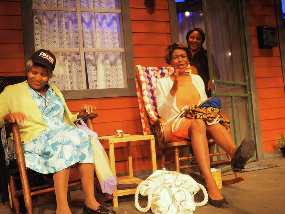 "Gwen Harris, from left, Rachel Hemphill Dickson and Michelle Harrell star in ""Front Porch Society."" Photo: Courtesy Ensemble Theatre / Lisa M Gardner"