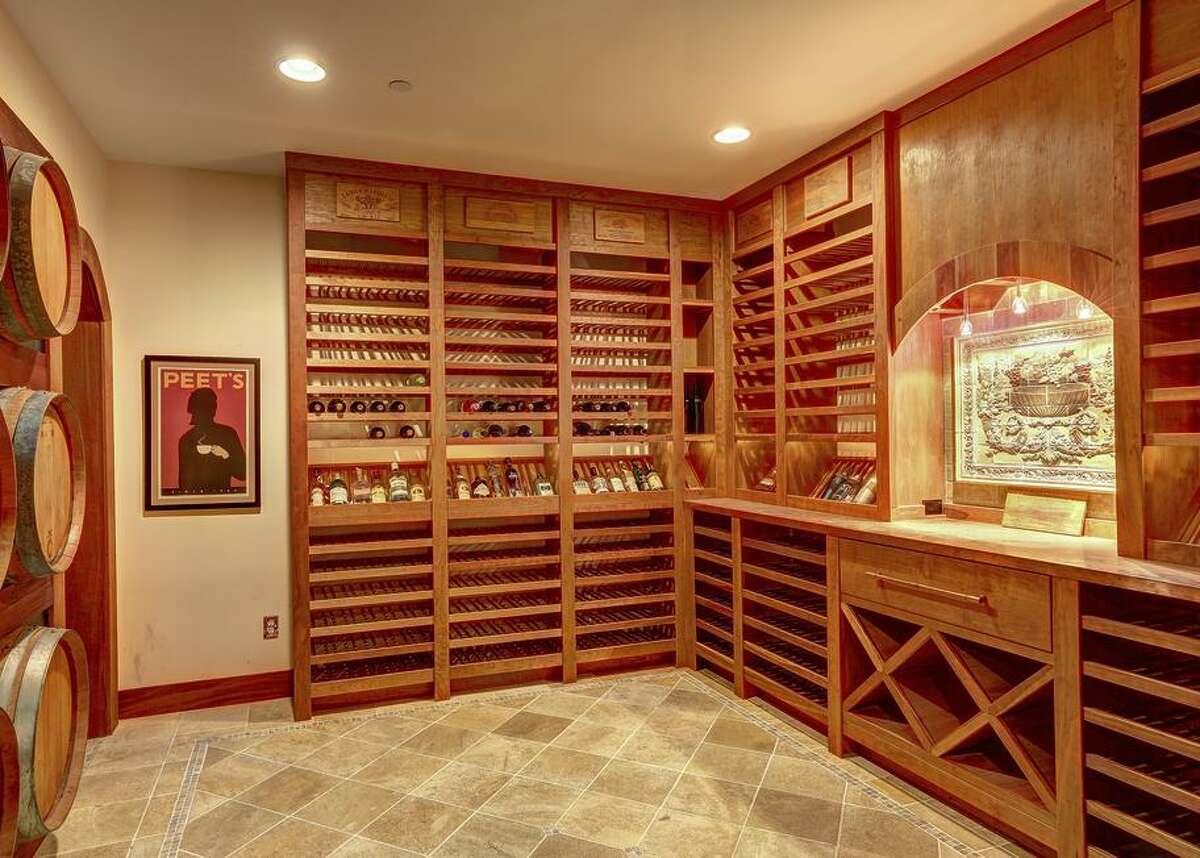 The home includes a custom-built wine cellar.