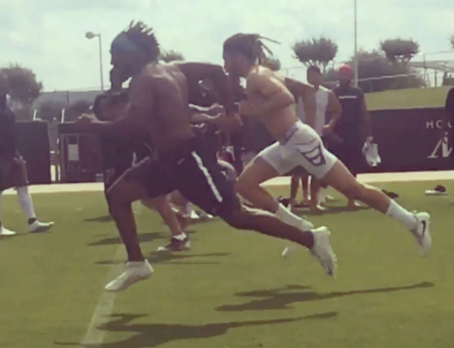 Houston Texans' Akeem Hunt, Wendall Williams and Will Fuller raced to see who is the fastest player on the team. Photo: Instagram