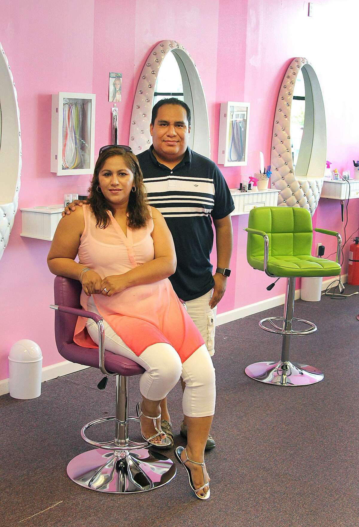 Carlos and Patricia Munoz at their new kids spa business, Princess Factory, in New Milford, Conn., on Friday, May 19, 2017.