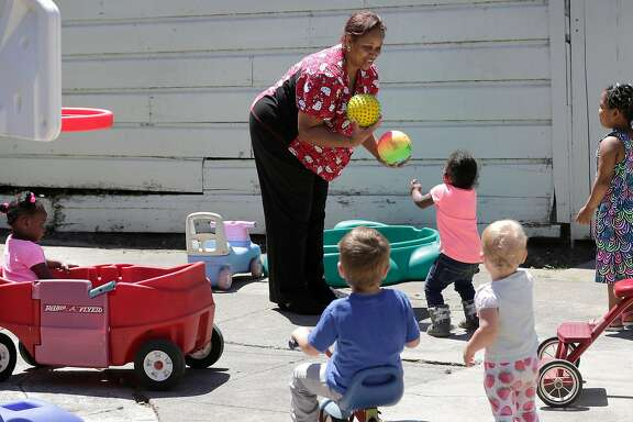 Nancy Harvey, who runs a child day care service out of her home in Oakland, CA, during playtime on Friday May 19, 2017. Measure C is a half-cent sales tax that will go towards increasing child care access for families in Alameda County, improving child care worker wages, and supporting Children's Hospital in Oakland.