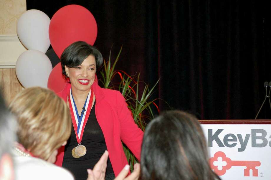 Paralympic medal winner Bonnie St. John speaks at the Key4Women forum on May 19, 2017. Photo: Provided | Michael Conlin
