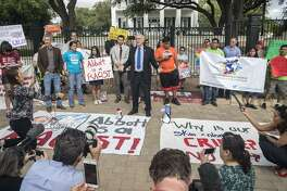 """U.S. Rep. Lloyd Doggett speaks during a protest May 8. The Austin gathering was to protest the """"sanctuary cities"""" law that critics say will allow police officers to ask about the immigration status of anyone they detain, including during routine traffic stops. But will officers understand why those they stopped appear nervous or afraid?"""