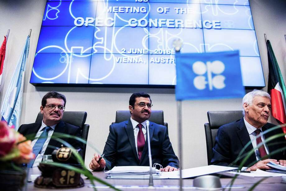 Eng. Mohamed Hamel, chairman of OPEC ( from left) Mohammed Al-Sada, Qatar's minister of energy and industry and president of OPEC  and Abdalla El-Badri, acting secretary general of OPEC, look on ahead of the 169th Organization of Petroleum Exporting Countries meeting in Vienna, Austria June 2, 2016. OPEC and its partners will meet on Thursday in Vienna to decide whether to prolong their supply cuts past June. Photo: Bloomberg File Photo / © 2016 Bloomberg Finance LP