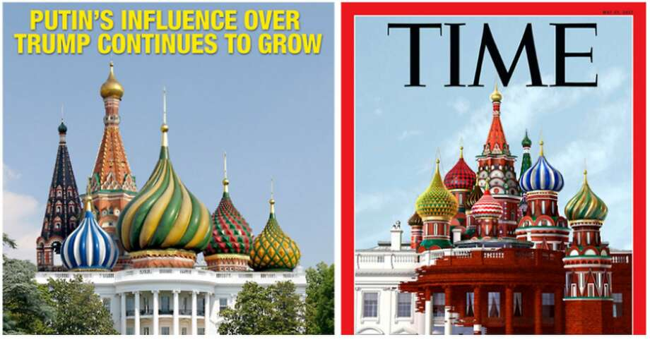 Mad magazine says the idea for Time's May 29, 2017, cover (released May 18) was stolen from Mad's Dec. 12, 2016, cover (left). Photo: Mad Magazine/Time Magazine