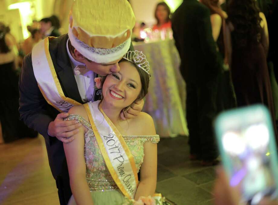 Needville High School seniors Katie Vacek and Kernie Baker were named queen and king of their prom. Photo: Elizabeth Conley, Staff / © 2017 Houston Chronicle