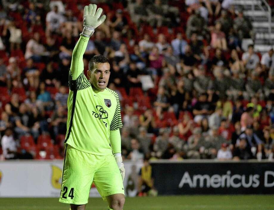 San Antonio FC goalkeeper Diego Restrepo sets up the defense against Seattle Sounders FC 2 during the second half of a USL match on May 13, 2017, at Toyota Field in San Antonio. Photo: Darren Abate /USL / Darren Abate Media LLC
