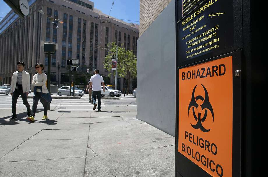 To help clear sidewalks of discarded syringes, the city is hoping drug users dispose of used needless in a black kiosk outside the Bill Graham Civic Auditorium. Photo: Liz Hafalia, The Chronicle