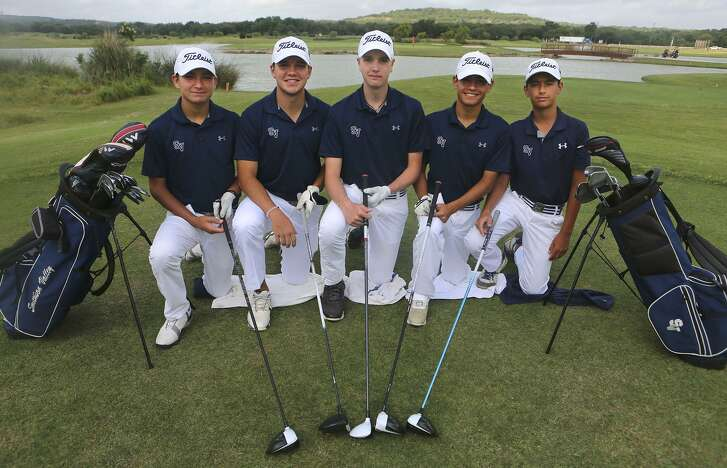The Smithson Valley golf team is going to state tournament. The are (from left) Tyler Horn, Jordan Stagg, Garrett Coan, Joaquin Martinez, and Evan Perez. The team, pictured at River Crossing Golf Club in Spring Branch, will be wearing white pants and caps for good luck.