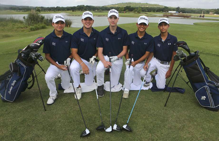 The Smithson Valley golf team is going to state tournament. The are (from left) Tyler Horn, Jordan Stagg, Garrett Coan, Joaquin Martinez, and Evan Perez. The team, pictured at River Crossing Golf Club in Spring Branch, will be wearing white pants and caps for good luck. Photo: John Davenport /San Antonio Express-News / ©San Antonio Express-News/John Davenport